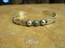 OLD 1920's Fred Harvey Era Navajo Coin Silver Turquoise APPLIED ARROWS Bracelet