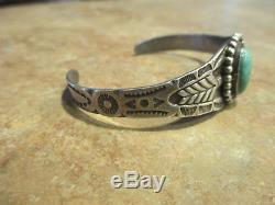 OLD FRED HARVEY ERA Navajo Sterling Silver Turquoise ARROW Cuff Bracelet