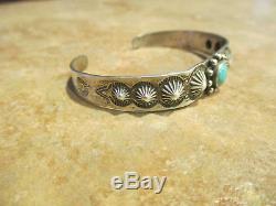 OLD Fred Harvey Era Maisels Navajo Sterling Silver Turquoise DESIGN Bracelet