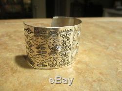 OLD Fred Harvey Era NAVAJO Sterling Silver Thunder / Peyote Bird DESIGN Bracelet