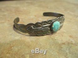 OLD Fred Harvey Era Navajo Silver Arrow Sterling Turquoise ARROWS Bracelet