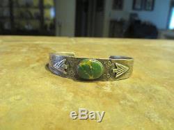 OLD Fred Harvey Era Navajo Sterling Silver CARICO LAKE Turquoise ARROW Bracelet