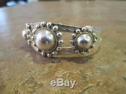 OLD Fred Harvey Era Navajo Sterling Silver DOME Row Bracelet with Horse Dogs