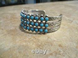 OLD Fred Harvey Era Navajo Sterling Silver SNAKE EYE Turquoise Row Bracelet