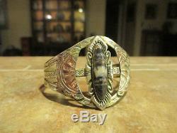 OLD Fred Harvey Era Navajo Sterling Silver Scalloped Petrified Wood Bracelet