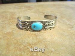 OLD Fred Harvey Era Navajo Sterling Silver Turquoise APPLIED ARROWS Bracelet