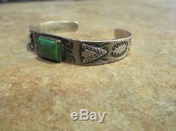 OLD Fred Harvey Era Navajo Sterling Silver Turquoise Applied ARROWHEAD Bracelet