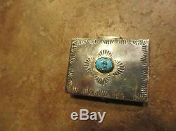 OLD Fred Harvey Era Navajo Sterling Silver Turquoise Pill Box