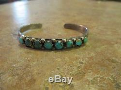 OLD Fred Harvey Era Navajo Sterling Silver Turquoise ROW Cuff Bracelet