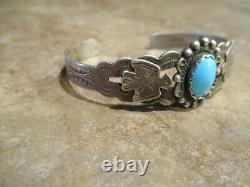 OLD Fred Harvey Era Navajo Sterling Silver Turquoise THUNDERBIRD Bracelet