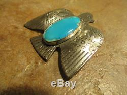 OLD Fred Harvey Era Navajo Sterling Silver Turquoise THUNDERBIRD Pin