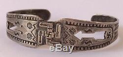 OLD Fred Harvey Era Navajo Sterling Silver WHIRLING LOGS & Arrows Cuff Bracelet