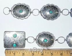 OLD Fred Harvey Era TURQUOISE NUGGET NAVAJO NATIVE STERLING SILVER CONCHO BELT