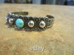 OLD Fred Harvey Era Zuni / Navajo Sterling Silver Turquoise DOME Snake Bracelet