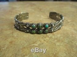 OLD Fred Harvey Era Zuni Sterling Silver Arrow Turquoise Design Bracelet