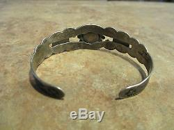 OLD Fred Harvey Indian Handmade IH COIN Silver Turquoise HORSE DOG Bracelet