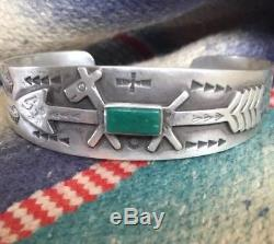 OLD Fred Harvey Navajo Coin Silver Green Turquoise Arrow Horse Dog Bracelet