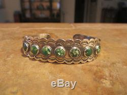 OLD Fred Harvey Navajo INDIAN HANDMADE Premium Turquoise Coin Silver Bracelet