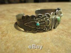 OLD Fred Harvey Navajo Silver Arrow Sterling Turquoise THUNDERBIRD Bracelet