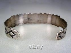 OLD Fred Harvey era STAMPED IH COIN SILVER & 9 GREEN TURQUOISE ROW BRACELET