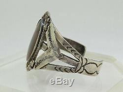 OLD NAVAJO FRED HARVEY ERA Sterling Silver. 925 Petrified Wood Cuff Bracelet