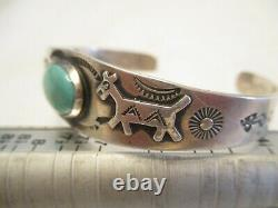 OLD PAWN Fred Harvey VINTAGE Sterling Silver & TURQUOISE Stamped CUFF BRACELET