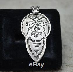 OLD PAWN Navajo Native American Fred Harvey Silver Thunderbird Whirling Log Fob