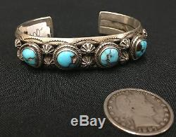 OLD SCHOOL Turquoise and Sterling Silver Navajo Bracelet Late Fred Harvey Era