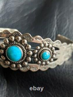 OLD Turquoise Fred Harvey Era Navajo Sterling Silver THUNDERBIRD Bracelet