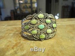 Obsolete 1920's Fred Harvey Era NAVAJO Coin Silver Turquoise CLUSTER Bracelet