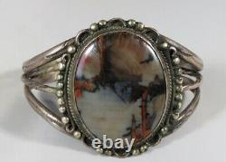 Old 1940's Fred Harvey Navajo Agate Petrified Wood Sterling Silver Cuff Bracelet
