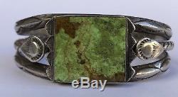 Old Fred Harvey Era Navajo Green GASPITE Sterling Silver Stamped Cuff Bracelet