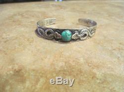 Old Fred Harvey Era Navajo Silver Turquoise Whirling Log Applied SNAKE Bracelet