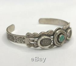 Old Fred Harvey Era Navajo Snake Royston Turquoise Sterling Silver Cuff Bracelet