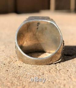 Old Fred Harvey Era Navajo Sterling Silver Multi Stone Inlay Thunderbird Ring