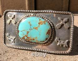 Old Fred Harvey Era Navajo Sterling Silver Royston Turquoise Arrow Belt Buckle