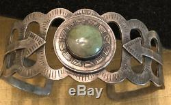 Old Fred Harvey Era Pawn Sterling Silver GREEN TURQUOISE Arrow Cuff Bracelet
