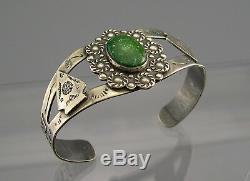 Old Fred Harvey Era Sterling Silver Green Turquoise Arrowhead Snake Bracelet