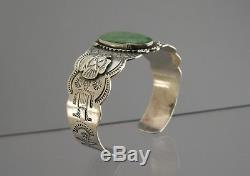 Old Fred Harvey Era Sterling Silver Green Turquoise Thunderbird Bracelet