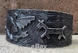 Old Fred Harvey Era Sterling Silver Thunderbird Horse Dog Cuff Bracelet