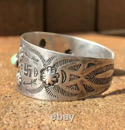 Old Fred Harvey Navajo Coin Silver Royston Turquoise Whirling Log Cuff Bracelet