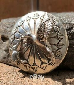 Old Fred Harvey Navajo Hummingbird Stamped Sterling Silver Concho Pin Brooch