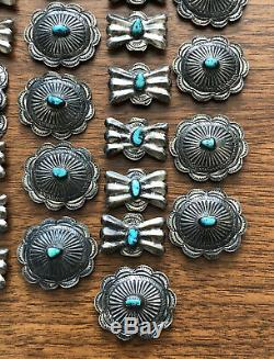 Old Fred Harvey Navajo Sterling Silver King's Manassa Turquoise 24 Concho Belt