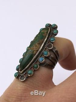 Old Fred Harvey Navajo Sterling Silver Petit Point Green Turquoise Stones Ring