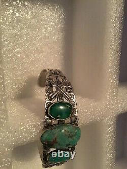 Old Fred Harvey Navajo Sterling Silver Turquoise Arrow Cuff Bracelet