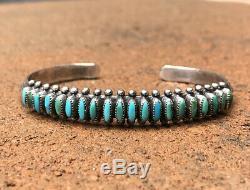 Old Fred Harvey Zuni Sterling Sliver Blue Turquoise Needlepoint Cuff Bracelet