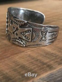 Old Fred Harvey sterling silver wide Arrow Head thunderbird large cuff bracelet