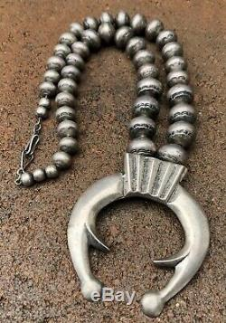 Old INGOT Fred Harvey NAVAJO Sterling Silver Bench Bead SQUASH BLOSSOM Necklace