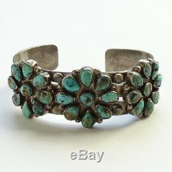 Old Navajo Cuff Bracelet Turquoise Rosette Cluster Signed Fred Harvey Era 44 Gr