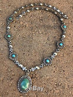 Old Navajo Fred Harvey Stamped Sterling Silver Turquoise Native Link Necklace